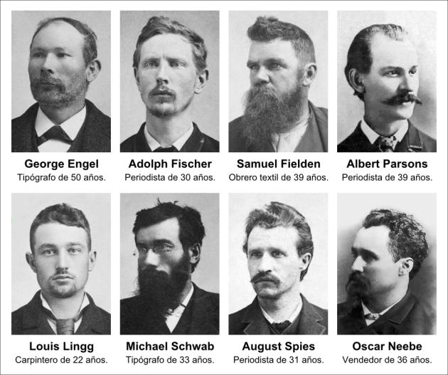 Los ocho sentenciados que llegaron a ser conocidos como los Mártires de Chicago. | Fuente: Eljojoto
